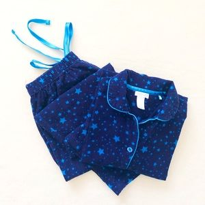 Jockey Cotton Star Botton-Down Blue Pajama Set M